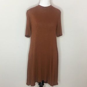 American Eagle rust ribbed mock neck dress